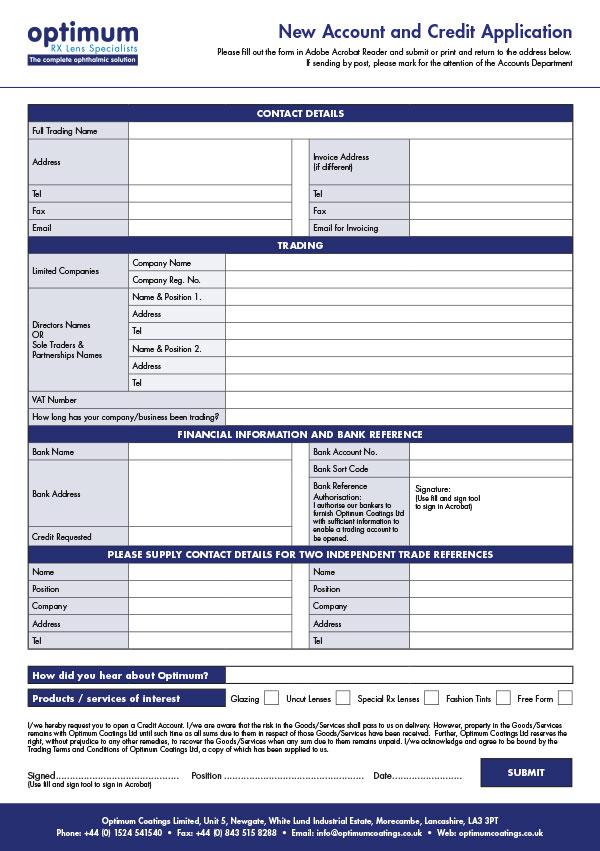 Optimum New Account Form 2019